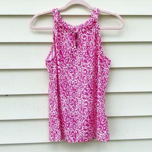 Jude Connally | Pink White Pattern Sleeveless Top